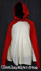 Cloak:3063, Cloak Style:True Half Circle, youth, Cloak Color:Red, Fiber / Weave:80% Wool / 20%, Cloak Clasp:Modern Hook and Eye<br>hidden, Hood Lining:Unlined, Back Length:31&quot;, Neck Length:18&quot;, Seasons:Fall, Spring, Note:Perfect Starter cloak for a child.<br>This lightweight red cloak<br>allows for running and hiking<br>with an open front to display<br>Armour or garments..