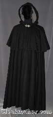 Cloak:3068, Cloak Style:Double Mantle Coachman / Highwayman / Statesman, Cloak Color:Black, Fiber / Weave:80% Wool / 20% Nylon, Cloak Clasp:Triple Medallion, Hood Lining:Grey Flocked faux suede, Back Length:55&quot;<br>22&quot; mantle, Neck Length:22&quot;, Seasons:Winter, Fall, Spring, Note:A black highwayman cloak<br>with two layers for warmth.<br>Made of a broken twill blend<br>wool you will be warm for<br>any event or daily activity.<br>Accented with a flocked<br>faux suede hood lining and<br>triple medallion hook and eye clasp.<br>Dry clean only..