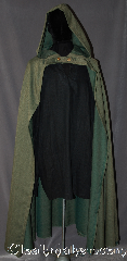 Cloak:3073, Cloak Style:True half circle, Cloak Color:Green, Fiber / Weave:Wool Blend Suiting, Cloak Clasp:Stag buttons, Hood Lining:Unlined, Back Length:54&quot;, Neck Length:20&quot;, Seasons:Fall, Spring, Note:Going on an adventure?<br>This lightweight cloak<br>allows for running and hiking<br>with an open front<br>to display Armour or garments.<br>Features a double button<br>closure of goldtone stags.<br>Machine washable..