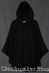 Cloak:3074, Cloak Style:Ruana, Cloak Color:Black, Fiber / Weave:80% Wool / 20%, Cloak Clasp:Vale, Hood Lining:Unlined, Back Length:34&quot;, Neck Length:20&quot;, Seasons:Fall, Spring, Southern Winter, Note:Made of a black broken twill<br>blend wool you will be warm<br>for any event or daily activity.<br>Accented with a vale<br>hook and eye clasp.<br>Dry clean only..