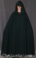 Cloak:3076, Cloak Style:Full Circle Cloak, Cloak Color:Green, Fiber / Weave:Wool lycra suiting, Cloak Clasp:Vale, Hood Lining:Unlined, Back Length:55&quot;, Neck Length:23.5&quot;, Seasons:Fall, Spring, Note:A flowing hunter green lightweight cloak<br>adorned with a silvertone Vale<br>hook and eye clasp.<br>Made from tropical / worsted wool<br>dry clean or hand wash line dry.