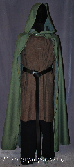 Cloak:3080, Cloak Style:Hobbit Style Cloak with Liripipe, Cloak Color:Green Heathered, Fiber / Weave:Wool, Cloak Clasp:Pewter Buttons, Hood Lining:Unlined, Back Length:53&quot;, Neck Length:20&quot;, Seasons:Fall, Spring, Note:An open-front cloak perfect for<br>displaying armor or a creative costume.<br>The liripipe hood adds an<br>extra air of playful fun.<br>Wash cold line dry.<br>Pictured with Tunic J467<br>Pants T196 and Belt BTR0001BZ<br>All sold separately.
