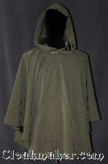 Cloak:3082, Cloak Style:Ruana Pullover Cloak, Cloak Color:Grey-Green, Fiber / Weave:Moleskin, Cloak Clasp:Alpine Knot - Silvertone, Hood Lining:Unlined, Back Length:31&quot;, Neck Length:20&quot;, Seasons:Fall, Spring, Note:This lightweight pullover ruana<br>is perfect for running<br>through the woods or<br>completing a ranger costume.<br>The roomy hood will shield your<br>face from bright sunlight or rain,<br>and the convenient front<br>pocket is great for storage.<br>Machine wash cold, tumble dry..