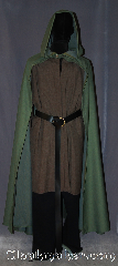Cloak:3084, Cloak Style:Hobbit Style Cloak, Cloak Color:Green Heathered, Fiber / Weave:Wool, Cloak Clasp:Hammered Shank Buttons, Hood Lining:Unlined, Back Length:54&quot;, Neck Length:17&quot;, Seasons:Fall, Spring, Note:An open-front cloak perfect for<br>a petite person or youth<br>looking for something light<br>to wear in the Spring and Fall.<br>With a deep hood to shield<br>your face from bright sunlight or rain,<br>and an open front to fully<br>display your costume or armor.<br>Wash cold line dry..