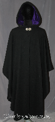 Cloak:3085, Cloak Style:Ruana Pullover Cloak, Cloak Color:Black, Fiber / Weave:Wool Cashmere blend, Cloak Clasp:Celtic Knot Round, Hood Lining:Purple Cotton Velveteen, Back Length:48&quot;, Neck Length:23&quot;, Seasons:Fall, Spring, Southern Winter, Winter, Note:A cross between a cape and a cloak,<br>a pullover ruana is a great way<br>to keep warm while frequent,<br>unhindered use of your arms <br>is needed. Ruanas make great driving cloaks!<br>Made from a wool cashmere blend<br>with accents of a purple<br>velveteen hood lining and<br>Round celtic knot clasp.<br>Dry spot or clean only.
