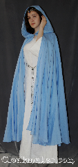 Cloak:3099, Cloak Style:Full Circle Cloak, Cloak Color:Light Blue, Fiber / Weave:Linen, Cloak Clasp:Hidden Hook & Eye, Hood Lining:Unlined, Back Length:51&quot;, Neck Length:23&quot;, Seasons:Summer, Fall, Spring, Note:Lightweight and easy care,<br>in a elegant light blue,<br>this full circle cloak is a great piece<br>of spring outerwear.<br>Made of breathable linen,<br>this unlined cloak makes<br>a great accessory for everyday wear,<br>LARP or Renaissance Fair.<br>The cloak is machine washable.