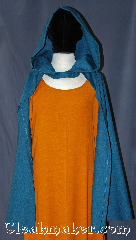 Cloak:3102, Cloak Style:Half Circle Hobbit Cloak Child, Cloak Color:Teal Blue, Fiber / Weave:Wool Blend, Cloak Clasp:Snap Button, Hood Lining:Unlined, Back Length:32&quot;, Neck Length:19&quot;, Seasons:Fall, Spring, Note:Going on an adventure?<br>This lightweight cloak allows for<br>running and hiking with a open front.<br>Perfect for a kid sized ranger or<br>child&#039;s hobbit cloak<br>Machine washable.<br>(Shown with gown G924 sold Separately).