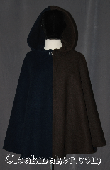Cloak:3108, Cloak Style:Shaped Shoulder Parti Cloak, Cloak Color:Blue Brown Heather, Fiber / Weave:Wool Blend, Cloak Clasp:Hidden Hook & Eye, Hood Lining:Unlined, Back Length:30&quot;, Neck Length:21&quot;, Seasons:Fall, Spring, Southern Winter, Note:A classic parti-coloured is a<br>cloak made of two contrasting fabrics,<br>one on each side.<br>Especially popular at the English<br>mid-century court, this eye-catching<br>cloak  is a soft and warm garment<br>for any occasion.<br>Dry or spot clean only..
