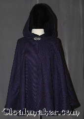 Cloak:3109, Cloak Style:Shaped Shoulder, Cloak Color:Black Purple Stripe, Fiber / Weave:Wool Blend, Cloak Clasp:Vale, Hood Lining:fully lined<br> with navy wool, Back Length:31.5&quot;, Neck Length:24&quot;, Seasons:Fall, Spring, Southern Winter, Winter, Note:This purple and black stripe wool<br>shape shoulder cloak is fully lined<br>with a dark navy wool<br>Perfect for indoor and outdoor events<br>Accented with a silver tone vale<br>hook-and-eye clasp.<br>Dry Clean only..