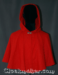 Cloak:3111, Cloak Style:Short Shape Shoulder Cloak, Cloak Color:Red, Fiber / Weave:Wool, Cloak Clasp:Marit Pewter, Hood Lining:Unlined, Back Length:23&quot;, Neck Length:21&quot;, Seasons:Fall, Spring, Note:Shorter length lightweight cloak<br>in a classic red.<br>Perfect as a starter cloak for a child or adult <br>It features an unlined full-sized hood.<br>This wool has been washed and can<br>continue to be washed gently in cold water..