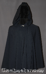 Cloak:3116, Cloak Style:Short Full Circle Cloak<br>with lirapipe hood, Cloak Color:Navy Blue, Fiber / Weave:Wool Blend, Cloak Clasp:Stina Pewter, Hood Lining:Unlined, Back Length:30&quot;, Neck Length:21.5&quot;, Seasons:Fall, Spring, Note:A wonderful starter cloak for a<br>child or adult. in a dark navy wool suiting<br>sized for play and walking.<br> With a liripipe hood for added storage or scarf.<br>Machine washable..