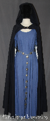 Cloak:3117, Cloak Style:True half circle, Cloak Color:Navy Blue, Fiber / Weave:100% Wool, Cloak Clasp:Bronze shield button, Hood Lining:Unlined, Back Length:53&quot;, Neck Length:22&quot;, Seasons:Fall, Spring, Note:Show your costume off in style. <br>This lightweight cloak allows for<br>running and hiking with a open front.<br>Shown with Gown G925 and #BT0033BZ-ST.<br>Dry clean only..