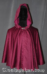 Cloak:3120, Cloak Style:Full Circle Cloak, Cloak Color:Maroon, Fiber / Weave:polyester satin, Cloak Clasp:Sissel Pewter, Hood Lining:Purple Crushed Velvet, Back Length:26.5&quot;, Neck Length:21&quot;, Seasons:Spring, Fall, Note:A luxurious, sophisticated<br>Polyester satin short cloak<br>with moleskin backing<br>Adorned with a Sissel Pewter<br>hook and eye clasp.<br>Machine washable line dry..