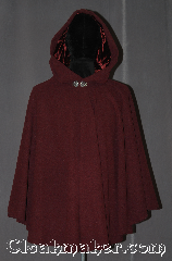 Cloak:3123, Cloak Style:Full Circle Cloak Short, Cloak Color:Heathered maroon, Fiber / Weave:100% Wool, Cloak Clasp:Vale, Hood Lining:Maroon silk Velvet, Back Length:32&quot;, Neck Length:20.5&quot;, Seasons:Fall, Spring, Southern Winter, Note:A wonderful starter cloak for a<br>child or adult in a<br>heathered maroon wool sized<br>for play and walking.<br>With a plush silk velvet maroon lined hood and vale clasp.<br>Dry clean or spot wash only..