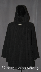 Cloak:3127, Cloak Style:Ruana, Cloak Color:Black, Fiber / Weave:Polyester Fleece, Cloak Clasp:Vale, Hood Lining:Fleece, Back Length:37&quot; back<br>33&quot; overarm, Neck Length:24.5&quot;, Seasons:Summer, Fall, Spring, Note:Plush and cozy, perfect for lounging<br>around the house or<br>walks on a cool clear night.<br>Extremely light weight this ruana<br>makes a great driving cloak with<br>shorter sides for easy arm mobility.<br>Made from recycled soda bottle<br>200 weight fleece<br> that does not pill.