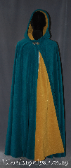 Cloak:3135, Cloak Style:Full Circle Cloak, Cloak Color:Teal Blue / mustard yellow, Fiber / Weave:Windblock Polar Fleece, Cloak Clasp:Triple Medallion, Hood Lining:Doubled sided fabric with<br> mustard finish on the inside, Back Length:52&quot;, Neck Length:22&quot;, Seasons:Fall, Spring, Southern Winter, Winter, Note:A one of a kind Full circle cloak<br>made from the warmest<br>fabric you can find.<br>Designed to block cold winter<br>winds and resist water.<br>This fleece is two tone<br>discontinued color combination<br>of teal on the outside and<br>mustard on the inside<br>for that added pop of color.<br>Machine washable<br>NEVER DRY CLEAN..