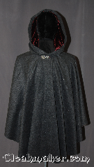 Cloak:3138, Cloak Style:Ruana, Cloak Color:Grey Speckled, Fiber / Weave:Wool Blend, Cloak Clasp:Vale, Hood Lining:Maroon silk Velvet, Back Length:33&quot; back<br>26&quot; overarm, Neck Length:22.5&quot;, Seasons:Fall, Spring, Southern Winter, Note:A unique grey wool ruana cloak<br>is the perfect accessory for any event.<br>Made of a wool blend and speckled<br>heather of various colors<br>you will be endlessly surprised.<br>The hood is lined in a  luxurious<br>silk maroon velvet for added<br> warmth and slip prevention<br>from light winds.<br>This ruana makes a great<br>driving cloak with shorter<br>sides for easy arm mobility.<br>Spot or dry clean only..
