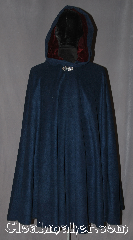 Cloak:3141, Cloak Style:Full Circle Cloak, Cloak Color:Heathered Navy and Sapphire Blue, Fiber / Weave:Felted wool blend coating, Cloak Clasp:Vale, Hood Lining:Maroon silk Velvet, Back Length:40&quot;, Neck Length:21&quot;, Seasons:Fall, Spring, Southern Winter, Note:This Heathered Navy and Sapphire Blue<br>wool blend cloak is a great conversation<br>piece with woven texture throughout<br>resulting in subtle variations in<br>color with different lighting<br>The hood is lined in a  luxurious<br>silk maroon velvet for added warmth and<br>slip prevention from light winds.<br>Spot or dry clean only..