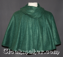 Cloak:3142, Cloak Style:Collared short cloak<br>with built in scarf, Cloak Color:Green, Fiber / Weave:100% Polyester, Cloak Clasp:Black snaps Scarf, Hood Lining:N/A, Back Length:21&quot;, Neck Length:24&quot;, Seasons:Fall, Spring, Note:This new unique designed<br>short collared cloak<br>is made from polyester fleece.<br>Featuring built in scarf for added warmth<br>that can be styled in many different ways.<br>Machine washable..