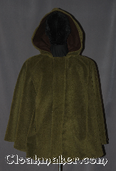Cloak:3152, Cloak Style:Shaped Shoulder Short Cloak<br>with arm slits and pockets, Cloak Color:Army Green, Fiber / Weave:100% Felted Wool, Cloak Clasp:Snap Button, Hood Lining:Mottled Brown Cotton, Back Length:28&quot;, Neck Length:23&quot;, Seasons:Fall, Spring, Southern Winter, Winter, Note:This new unique designed<br>short fitted cloak<br>is made from 100% felted wool<br>with a cotton hood lining.<br>Featuring a button down<br>stylized overlapping front,<br>two front pockets,<br>and arm slits for easy arm mobility.<br>Spot or dry clean only.
