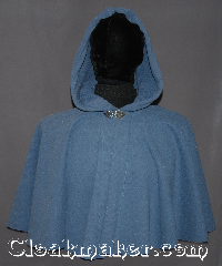 Cloak:3154, Cloak Style:Full Circle Short Cloak, Cloak Color:China Blue, Fiber / Weave:Windpro Polar Fleece<br>fleece Doubled sided outer checkered<br>interior Shearling, Cloak Clasp:Vale, Hood Lining:Doubled sided fabric with<br>fleece  Shearling finish on the inside, Back Length:19&quot;, Neck Length:19&quot;, Seasons:Winter, Fall, Spring, Note:A soft gorgeous short<br>polar fleece cape<br>has an outer checkered<br>texture and a complete<br>double sided interior fleece sheerling.<br>Machine washable with a vale<br>hook and eye clasp..