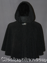 Cloak:3159, Cloak Style:Cape / Ruana / Shaped Shoulder short, Cloak Color:Black, Fiber / Weave:Windbloc Fleece, Cloak Clasp:Vale, Hood Lining:Self-lining, Back Length:23&quot;, Neck Length:23&quot;, Seasons:Winter, Fall, Spring, Note:A elegant wrap for cold winters<br>or child&#039;s starter cloak.<br>Made of Windbloc Fleece (a thick<br>plush material that is warm and windproof)<br>this cloak is perfect for cold winters.<br>The Ruana shape with 20&quot; shortened<br>sides allows easy arm access for<br>everyday activities.<br>The cloak is competed<br>with a silver tone Vale hook and eye clasp.<br>Machine washable.<br>DO NOT DRY CLEAN.