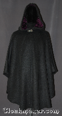 Cloak:3184, Cloak Style:Shaped Shoulder Ruana Cloak, Cloak Color:Grey Speckled, Fiber / Weave:Wool Blend, Cloak Clasp:Vale, Hood Lining:Crushed Purple Velvet, Back Length:42.5&quot; back<br>27&quot; overarm, Neck Length:19.5&quot;, Seasons:Fall, Spring, Note:A unique grey wool shape shoulder<br>ruana cloak is the perfect for a youth<br>or young adult.<br>Made of a wool blend and speckled<br>heather of various colors.<br>The hood is lined in a soft crushed<br>purple velvet for added warmth.<br>This ruana makes a wonderful<br>play/hiking cloak with shorter sides<br>for easy arm mobility.<br> Spot or dry clean only..