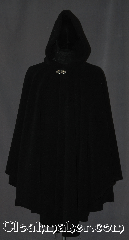 Cloak:3187, Cloak Style:Ruana, Cloak Color:Black, Fiber / Weave:Fleece, Cloak Clasp:Vale, Hood Lining:Unlined, Back Length:43&quot;<br>36&quot; overarm, Neck Length:25&quot;, Seasons:Fall, Spring, Note:Made of a plush cuddly fleece, great for lounging on the couch or snuggling on outings. <br>The Ruana shape with 36&quot; shortened<br>sides allows easy arm access for<br>everyday activities.  The cloak is competed<br>with a silver tone Vale hook and eye clasp.<br> Made with fleece that is machine washable durible and long lasting..