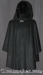 Cloak:3190, Cloak Style:Ruana, Cloak Color:Grey Speckled, Fiber / Weave:Wool Blend, Cloak Clasp:Vale, Hood Lining:Black Crinkle Velvet, Back Length:38&quot; back<br>27&quot; overarm, Neck Length:23.75&quot;, Seasons:Fall, Spring, Note:A unique grey wool ruana cloak is the<br>perfect accessory for any event.<br>Made of a wool blend and speckled<br>heather of various colors.<br>The hood is lined in a tactile crinkle<br>black velvet for added warmth.<br>This ruana makes a great driving cloak<br>with shorter sides for easy arm mobility.<br> Spot or dry clean only..