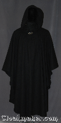 Cloak:3191, Cloak Style:Ruana pullover Cloak, Cloak Color:Black, Fiber / Weave:Wool Blend, Cloak Clasp:Vale, Hood Lining:Unlined, Back Length:49.5&quot;<br>28&quot; overarm, Neck Length:25.5&quot;, Seasons:Fall, Spring, Note:This closed front wool ruana cloak is the<br>perfect accessory for any event.<br>Made of a classic feel wool blend<br>with a pullover style cut.<br>Makes a great driving cloak with<br>shorter sides for easy arm mobility.<br>Due to the dying process for this wool<br>we recommend you do not wear<br>this cloak with light colored  clothing.<br>Machine washable tumble dry low.
