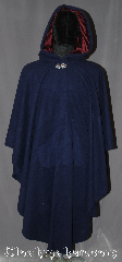 Cloak:3198, Cloak Style:Ruana With pockets, Cloak Color:Dark Blue, Fiber / Weave:80% Wool, 20% Nylon, Cloak Clasp:Vale, Hood Lining:Burgundy Silk Velvet, Back Length:47&quot; Back<br>29&quot; overarm, Neck Length:23&quot;, Seasons:Fall, Spring, Southern Winter, Note:A classic blue wool ruana cloak<br>is the perfect accessory for<br>any cool weather event.<br>Made of a wool blend with front<br>pockets and a romantic styled<br>hood lined in a soft burgundy velvet<br>for added warmth.<br>This ruana makes a great driving cloak<br>with shorter sides for<br>easy arm mobility.<br>Spot or dry clean only..