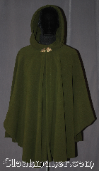 Cloak:3204, Cloak Style:Shaped Shoulder Ruana Cloak, Cloak Color:Olive Green, Fiber / Weave:WindPro Fleece, Cloak Clasp:Triple Medallion - Goldtone, Hood Lining:Unlined faux shearling<br>interior double sided fabric, Back Length:38&quot; back<br>28&quot; overarm, Neck Length:21&quot;, Seasons:Fall, Spring, Winter, Note:A classic olive green windpro<br>shape shoulder ruana<br>that will keep you warm<br>and dry on chilly nights.<br>This soft and cuddly cloak<br>has a faux shearling interior<br>texture for extra comfort<br>and a water resistant<br>outer layer to keep you dry<br>during light rain/snow.<br>The goldtone triple medallion<br>clasp is the final touch on this<br>functional and elegant cloak.<br>This shape shoulder ruana<br>makes a great driving cloak<br>with shorter sides and less<br>bulk easy arm mobility . <br>Machine washable<br>DO NOT DRY CLEAN..