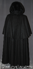 Cloak:3205, Cloak Style:Full Circle Cloak w/Mantle victorian, Cloak Color:Black, Fiber / Weave:Wool Blend, Cloak Clasp:TBD, Hood Lining:Black Crushed Velvet, Back Length:54&quot; back<br>26&quot; mantle, Neck Length:22&quot;, Seasons:Winter, Southern Winter, Fall, Spring, Note:This Victorian full circle cloak<br>is designed with a 26&quot; mantle<br>and black velvet lined hood<br>t heavy cloak is versatile enough<br>to be used for the fantastical<br>to everyday, as it keeps you warm and drapes elegantly<br>over any clothing with a<br>dramatic swoosh when needed.<br>Dry clean only..