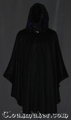 Cloak:3212, Cloak Style:Ruana, Cloak Color:Black, Fiber / Weave:Wool 50/50 Cashmere Blend, Cloak Clasp:Vale, Hood Lining:Purple rayon acetate velvet, Back Length:42&quot;<br>Overarm 29&quot;, Neck Length:21&quot;, Seasons:Southern Winter, Fall, Spring, Note:A mid weight soft black wool cashmere<br>ruana cloak you would love to snuggle.<br> Accented with a hood lined in<br>purple velvet for extra warmth<br>and stability with a classic vale<br>clasp hook and eye closure.<br>Makes a great driving cloak<br>with shorter sides and  less bulk<br>for easy arm mobility.<br>Spot dry clean only..