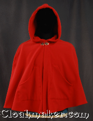 Cloak:3215, Cloak Style:Petite Shaped Shoulder Cloak short with arm slits, Cloak Color:Red, Fiber / Weave:WindPro Fleece, Cloak Clasp:Vale, Hood Lining:Unlined faux shearling<br>interior double sided fabric, Back Length:27&quot;, Neck Length:20&quot;, Seasons:Fall, Spring, Winter, Note:A classic petite/youth red windpro<br>short shape shoulder cloak<br>that will keep you warm<br>and dry on chilly nights.<br>This soft and cuddly cloak has<br> two front pockets,<br>an interior faux shearling texture<br>for extra comfort,<br>and a water resistant outer layer<br>to keep your dry during light rain/snow.<br>The silver-tone vale clasp is the final<br>touch on this functional and elegant cloak.<br>Machine washable DO NOT DRY CLEAN..
