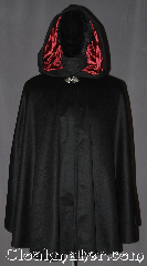 Cloak:3217, Cloak Style:Shaped Shoulder, Cloak Color:Black, Fiber / Weave:Wool 50/50 Cashmere Blend, Cloak Clasp:Vale, Hood Lining:Garnet red Velvet, Back Length:34&quot;, Neck Length:19&quot;, Seasons:Fall, Spring, Note:A light weight soft black<br>wool cashmere shape shoulder cloak you<br>would love to snuggle.<br>Accented with a hood lined in<br>garnet velvet for extra warmth<br>and stability with a classic <br>vale clasp hook and eye closure.<br> Designed with less bulk for<br>easy arm mobility.<br>Spot dry clean only..