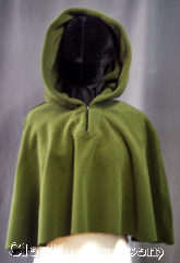 Cloak:3229, Cloak Style:Short pullover shape shoulder cloak, Cloak Color:Olive Green, Fiber / Weave:WindPro Fleece, Cloak Clasp:Plain Rope<br>Hook & Eye, Hood Lining:Unlined faux shearling<br>interior double sided fabric, Back Length:20&quot;, Neck Length:18&quot;, Seasons:Winter, Southern Winter, Fall, Spring, Note:The extravagant look and comfort<br>of a full cloak lining without the worry<br>of uneven stretching, plus<br>extraordinary wind resistance!<br>This gorgeous olive green ful<br> pullover shape shoulder cloak<br>appears to be fully lined with green fur,<br>but actually it is just one fabric!<br>In fact, it&#039;s WindPro Polar Fleece,<br>which is 60-70% wind resistant! <br>This cloak features a full hood<br>and closes with a hidden rope<br>hook-and-eye clasp with a<br>keyhole neck<br>Machine Washable.<br>DO NOT DRY CLEAN..