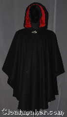 Cloak:3233, Cloak Style:Ruana, Cloak Color:Black, Fiber / Weave:100% Wool, Cloak Clasp:Vale, Hood Lining:Valentine red velveteen, Back Length:41&quot; back<br>26&quot; overarm, Neck Length:22&quot;, Seasons:Fall, Southern Winter, Winter, Note:This black ruana cloak with a<br>Valentine red velveteen lining.<br>Made of mid-weight with shortened<br>sides allowing for a a wide range<br>of movement.<br>Perfect for driving on cold winter days.<br>Accented with a Silver tone<br>vale hook-and-eye clasp.<br>Dry Clean only..