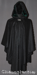 Cloak:3237, Cloak Style:Ruana, Cloak Color:Black, Fiber / Weave:Wool Cashmere, Cloak Clasp:Vale, Hood Lining:Hunter Green velvet, Back Length:44&quot; back<br>25&quot; sides, Neck Length:22&quot;, Seasons:Fall, Spring, Note:Luxuriously soft this black ruana cloak with a<br>dark green velvet lining with shortened<br>sides allowing for a a wide range<br>of movement with no drafts.<br>Perfect for driving on cold winter days<br>this cloak is made of a light weight<br>wool cashmere blend,<br>Accented with a Silver tone<br>vale hook-and-eye clasp.<br>Dry Clean only..