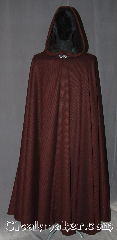 Cloak:3240, Cloak Style:Full Circle Cloak, Cloak Color:Crimson Red / Black  stripe, Fiber / Weave:wool poly acrylic blend, Cloak Clasp:Vale, Hood Lining:Unlined, fabric is<br>darker on the inside, Back Length:54&quot;, Neck Length:24&quot;, Seasons:Fall, Spring, Note:This one of a kind crimson and black<br>diagonal striped full circle cloak<br>is a great finish to a night<br>on the town or Renaissance Fair<br>providing warmth with a unique pattern.<br>Made from a discontinued wool blend<br>coating double sided fabric<br>with a black inside.<br>Perfect for Summer, Late Spring,<br>Early Fall outerwear.<br>Finished with a vale hook-and-eye clasp.<br>Dry or spot clean only..
