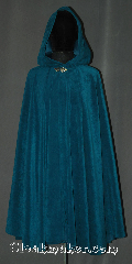 Cloak:3249, Cloak Style:Full Circle Cloak, Cloak Color:Green / Mallard Teal, Fiber / Weave:Moleskin (polyester)<br>with satin interior, Cloak Clasp:Vale, Hood Lining:Pointed<br>Unlined satin interior<br>double sided fabric, Back Length:39&quot;, Neck Length:20&quot;, Seasons:Summer, Fall, Spring, Note:This full circle cloak was created from<br>a rich teal washed polyester moleskin.<br>The fabric is similar to a brushed denim<br>colored closer to green than blue.<br> An intricate pewter vale hook-and-eye<br>clasp provides the finishing touch.<br> Machine wash low, gentle, tumble dry low..