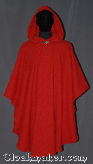 Cloak:3255, Cloak Style:Ruana Pullover Cloak, Cloak Color:Red, Fiber / Weave:Basket Weave Wool cashmere, Cloak Clasp:Vale, Hood Lining:Unlined, Back Length:44&quot; back<br>25&quot; sides, Neck Length:19&quot; Keyhole, Seasons:Fall, Spring, Southern Winter, Note:Soft luxurious and gorgeous this<br>pullover ruana is a classic red cashmere<br>with a checkered basket-weave<br>for a eye-catching texture.<br>A cross between a cape and a cloak,<br>a ruana is a great way to keep warm<br>while frequent, unhindered use of<br>your arms is needed with no drafts<br>The sides reach with an overarm of 25&quot;<br>Spot or dry-clean only.<br>Can not be reproduced..