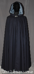 Cloak:3259, Cloak Style:Full Circle Cloak, Cloak Color:Navy Blue, Fiber / Weave:100% Wool Twill,, Cloak Clasp:Vale, Hood Lining:Steel blue/ grey cotton velveteen, Back Length:55&quot;, Neck Length:22&quot;, Seasons:Fall, Spring, Note:A classic navy blue full circle cloak<br>with a steel blue cotton velveteen<br>lined hood creates a<br>lovely monochrome ensemble.<br>Perfect for fall outings.<br>Spot or dryclean only..