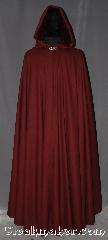 Cloak:3261, Cloak Style:Full Circle Cloak, Cloak Color:Maroon dark red, Fiber / Weave:100% Wool Twill, Cloak Clasp:Vale, Hood Lining:Maroon Rayon Velvet, Back Length:58&quot;, Neck Length:20&quot;, Seasons:Fall, Spring, Note:With a dramatic drape this maroon<br>full circle cloak is a great piece<br>of fall outerwear.<br>Made  with a durable wool twill suiting,<br>and maroon velvet lined hood.<br>This cloak makes a great accessory for<br>everyday wear, LARP or Renaissance Fair.<br>The cloak is spot or dryclean only..