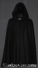Cloak:3276, Cloak Style:full Circle Cloak, Cloak Color:Black, Fiber / Weave:Economy Fleece, Cloak Clasp:Vale, Hood Lining:Unlined, Back Length:41&quot;, Neck Length:20.5&quot;, Seasons:Southern Winter, Fall, Spring, Note:Elegant and economically friendly,<br>this full circle black polyester<br>economy fleece cloak bridges the<br>seasons, serving beautifully in<br>the Spring and Fall.<br>Machine washable..