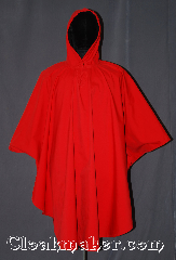 Cloak:3277, Cloak Style:Ruana Pullover Cloak, Cloak Color:Red Outside, Black Inside, Fiber / Weave:Power Shield / Polyester, Cloak Clasp:Snap Button, Hood Lining:Doubled sided fabric with<br> fleece finish on the inside, Back Length:41&quot; back<br>28&quot; overarm, Neck Length:22&quot;, Seasons:Fall, Spring, Note:Waterproof and warm for fall or<br>spring events with wet weather.<br>Designed for maximum protection<br>with a closed front,<br>3 part storm hood, and<br>snap closures at the wrist.<br>The doubled sided fabric with<br> fleece finish on the inside<br>and red waterproof outside<br>is machine washable..