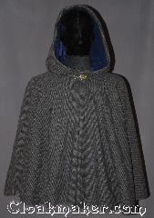 Cloak:3280, Cloak Style:Full Circle Short Cloak, Cloak Color:Two tone Grey woven, Fiber / Weave:100% Lambs Wool, Cloak Clasp:Vale, Hood Lining:Navy blue Rayon velvet, Back Length:28&quot;, Neck Length:22.5&quot;, Seasons:Spring, Fall, Note:A super soft two tone grey<br>100% lambs wool weave<br>short full circle cloak is the<br>perfect starter cloak for any age.<br>Short enough for a child<br>to play and grow with while allowing<br>an adult ease of arm use during<br>everyday activities.<br>The soft navy blue velvet hood lining<br>and pewter vale clasp adds a touch of<br>elegance with added warmth and security.<br>Spot or dryclean only..