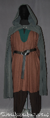 Cloak:3282, Cloak Style:Half Circle, Cloak Color:Olive Green/ Grey, Fiber / Weave:Poly Rayon Blend, Cloak Clasp:Two Shank Button, Hood Lining:Unlined, Back Length:49&quot;, Neck Length:20&quot;, Seasons:Summer, Fall, Spring, Note:An open-front cloak perfect <br>for displaying armor<br>or a creative costume.<br>Made with a grey green<br>poly rayon blend fabric and<br>double pewter filigrees buttons.<br>Machine washable<br>Pictured with Tunic J504<br>Pants T207 and Belt BTR0001BZ<br>All sold separately.
