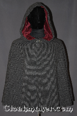 Cloak:3284, Cloak Style:Shaped Shoulder Cloak - Short, Cloak Color:Two tone Grey woven, Fiber / Weave:100% Lambs Wool, Cloak Clasp:Vale, Hood Lining:Burgundy Cotton Velveteen, Back Length:29&quot;, Neck Length:22&quot;, Seasons:Spring, Fall, Note:A super soft two tone grey<br>100% lambs wool weave<br>short shape shoulder cloak is the<br>perfect starter cloak for any age.<br>Short enough for a child<br>to play and grow with while allowing<br>an adult ease of arm use during<br>everyday activities.<br>The soft Burgundy cotton velvet<br>hood lining and pewter vale clasp<br>adds a touch of elegance with added<br>warmth and security.<br>Spot or dryclean only..