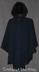 Cloak:3287, Cloak Style:Ruana Pullover Cloak water resistant, Cloak Color:Navy Blue, Fiber / Weave:100% Polyester Fleece, Cloak Clasp:Modern Hook and Eye<br>hidden, Hood Lining:Self-lining, sherpa texture, Back Length:38&quot; back<br>29&quot; overarm, Neck Length:22&quot;, Seasons:Winter, Southern Winter, Fall, Spring, Note:Warm functional and<br>water resistant this<br>navy ruana pullover<br>has a self-lining, sherpa<br>texture with a closed front<br>for extra warmth from cold winds.<br>A cross between a cape and a cloak,<br>a ruana is a great way <br>to keep warm while frequent,<br>unhindered use of your arms<br>is needed. Ruanas make great driving cloaks!<br>Machine washable..